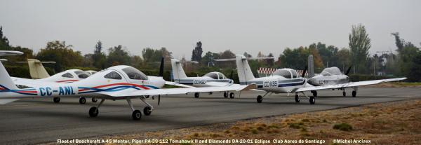 DSC_0114 Composición Diamond DA-20-CL CC-ANL, Piper PA-38-112 Tomahawk II CC-KSS & CC-KSO, Beech A-45 Mentor CC-KST