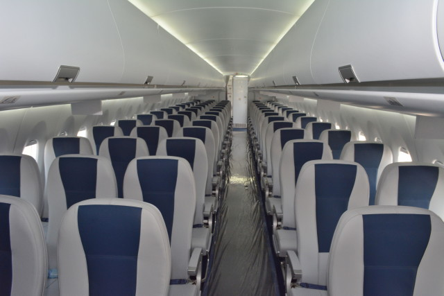 015 Cabin of Sukhoi SSJ-100-95B Superjet 100 I-PDVW Interjet © Michel Anciaux
