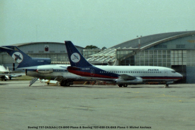 img907 Boeing 737-2A3(Adv) CX-BOO Pluna & Boeing 727-030 CX-BKB Pluna © Michel Anciaux
