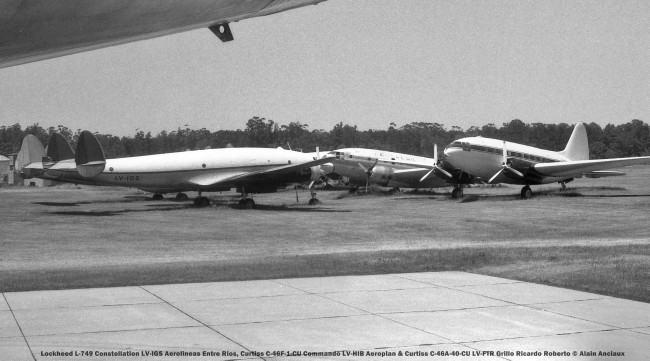img924 Lockheed L-749 Constellation LV-IGS Aerolineas Entre Rios, Curtiss C-46F-1-CU Commando LV-HIB Aeroplan & Curtiss C-46A-40-CU LV-FTR Grillo Ricardo Roberto © Alain Anciaux