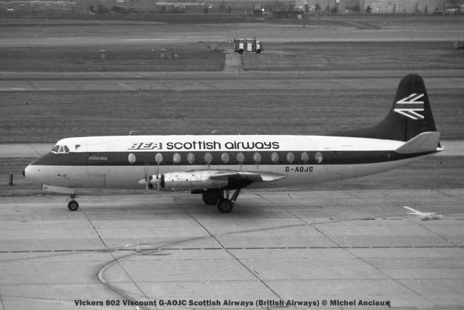 176 Vickers 802 Viscount G-AOJC Scottish Airways (British Airways) © Michel Anciaux