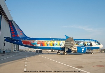 DSC_2020 Airbus A320-214 OO-SND Brussels Airlines - Aerosmurf © Luc Barry