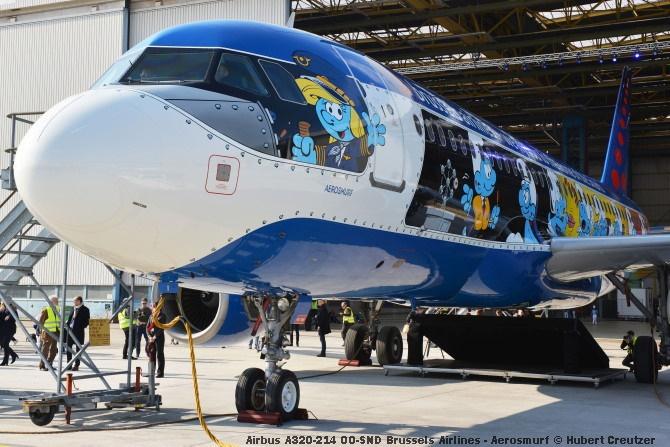DSC_2093 Airbus A320-214 OO-SND Brussels Airlines - Aerosmurf © Hubert Creutzer