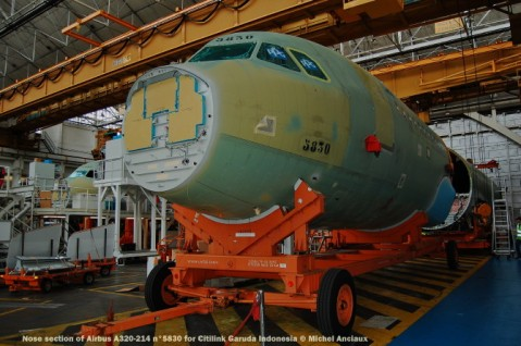 007 Nose section of Airbus A320-214 n°5830 for Citilink Garuda Indonesia © Michel Anciaux