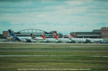 009 Airbus A330-243 F-WWCQ China Airl., Airbus A330-343X F-WWYJ & F-WWCP Philippine Airl. ©Michel Anciaux