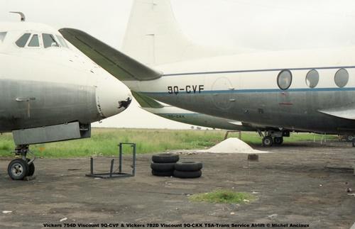 img13 Vickers 754D Viscount 9Q-CVF & Vickers 782D Viscount 9Q-CKK TSA-Trans Service Airlift © Michel Anciaux
