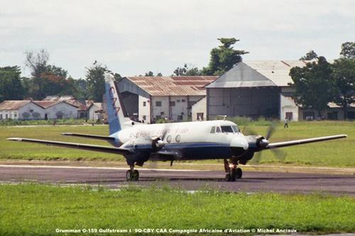 img141 Grumman G-159 Gulfstream I 9Q-CBY CAA Compagnie Africaine d'Aviation © Michel Anciaux