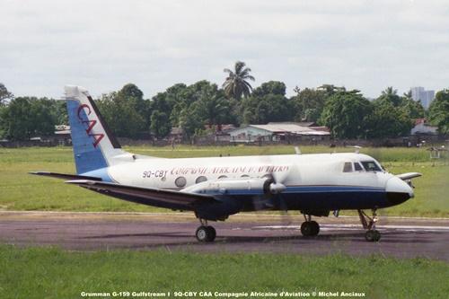 img143 Grumman G-159 Gulfstream I 9Q-CBY CAA Compagnie Africaine d'Aviation © Michel Anciaux