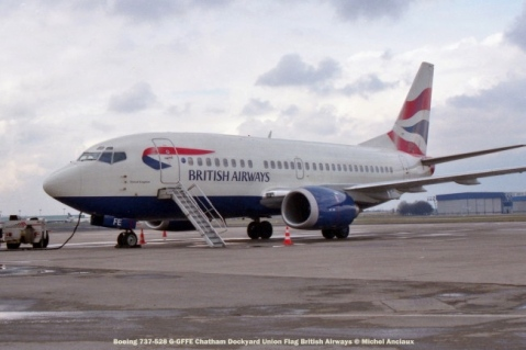 001 Boeing 737-528 G-GFFE Chatham Dockyard Union Flag British Airways © Michel Anciaux