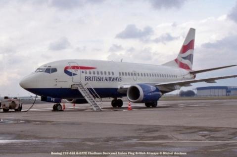 001 Boeing 737-528 G-GFFE Chatham Dockyard Union Flag British Airways © Michel Anciaux