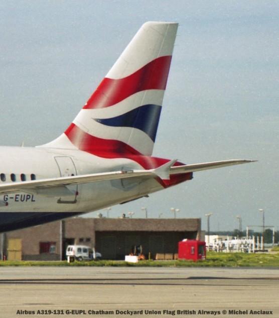 008 Airbus A319-131 G-EUPL Chatham Dockyard Union Flag British Airways © Michel Anciaux