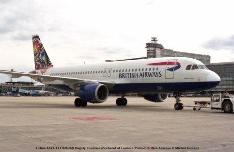 017 Airbus A321-111 G-BUSB Koguty Lowickie (Cockerel of Lowicz) (Poland) British Airways © Michel Anciaux