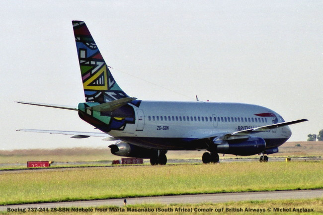 025 Boeing 737-244 ZS-SBN Ndebele from Marta Masanabo (South Africa) Comair opf British Airways © Michel Anciaux