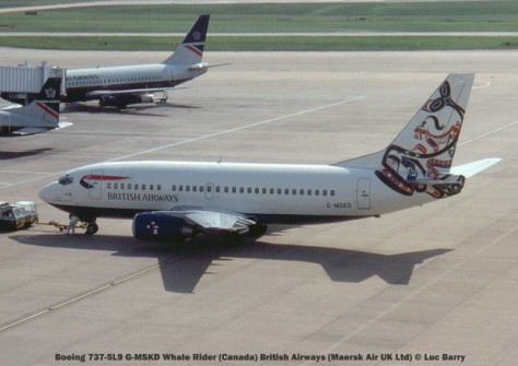 20819 Boeing 737-5L9 G-MSKD Whale Rider (Canada) British Airways (Maersk Air UK Ltd) © Luc Barry