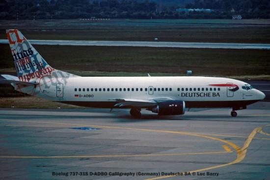 21866C Boeing 737-31S D-ADBO Calligraphy (Germany) Deutsche BA © Luc Barry