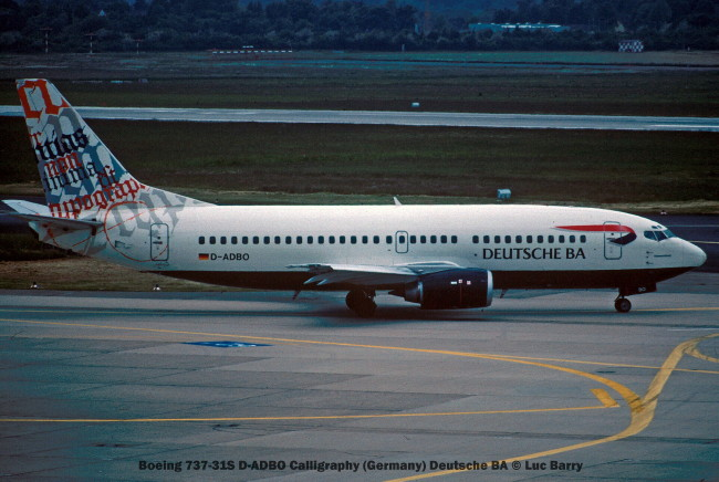 21866C Boeing 737-31S D-ADBO Calligraphy (Germany) Deutsche BA © Luc Barry