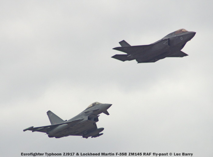 DSC07413 Eurofighter Typhoon ZJ917 & Lockheed Martin F-35B ZM145 RAF fly-past © Luc Barry