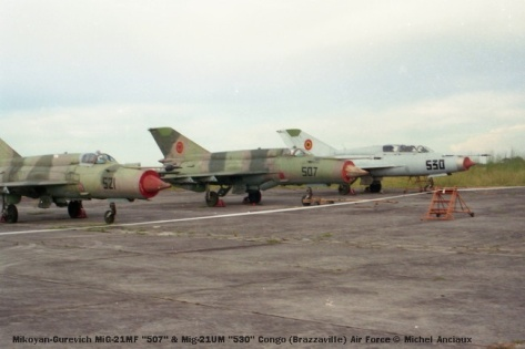 img1010 Mikoyan-Gurevich MiG-21MF ''507'' & Mig-21UM ''530'' Congo (Brazzaville) Air Force © Michel Anciaux
