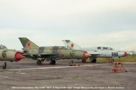 img1010 Mikoyan-Gourevitch Mig 21MF ''507'' & Mig-21UM ''530'' Congo (Brazzaville) Air Force © Michel Anciaux