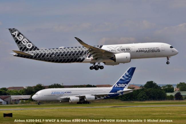 DSC_0629 Airbus A350-941 F-WWCF & Airbus A380-841 Airbus F-WWOW Airbus Industrie © Michel Anciaux