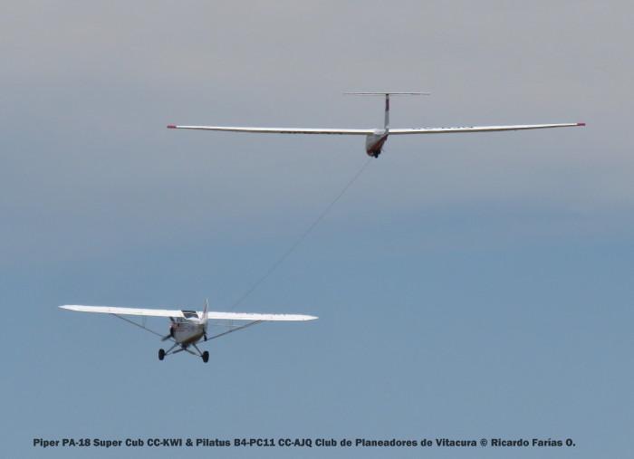 Open Day - 19 Piper PA-18 Super Cub CC-KWI & Pilatus B4-PC11 CC-AJQ Club de Planeadores de Vitacura © Ricardo Farías O.
