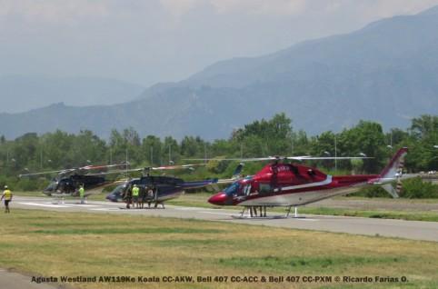 Open Day - 26 Agusta Westland AW119Ke Koala CC-AKW, Bell 407 CC-ACC & Bell 407 CC-PXM © Ricardo Farías O.