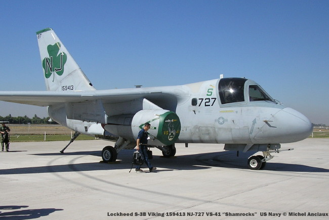 a80 lockheed s-3b viking 159413 nj-727 vs-41 ''shamrocks'' us navy © michel anciaux