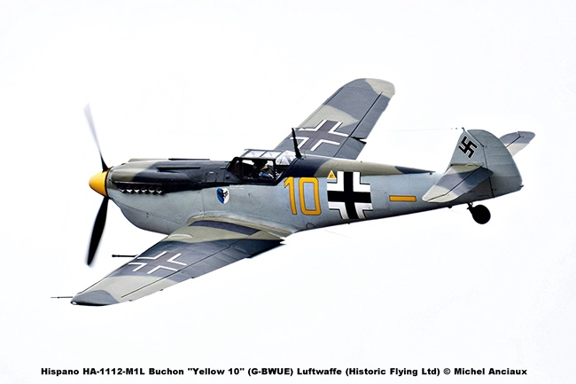 DSC_1302 Hispano HA-1112-M1L Buchon ''Yellow 10'' (G-BWUE) Luftwaffe (Historic Flying Ltd) © Michel Anciaux