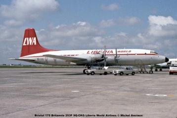 889 Bristol 175 Britannia 253F 9Q-CKG Liberia World Airlines © Michel Anciaux