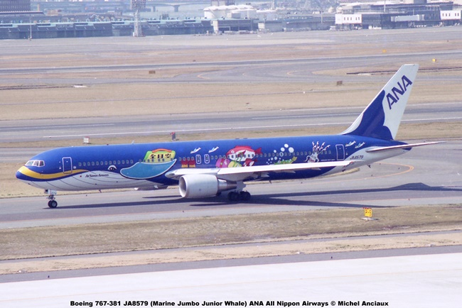 028 Boeing 767-381 JA8579 (Marine Jumbo Junior Whale) ANA All Nippon Airways © Michel Anciaux