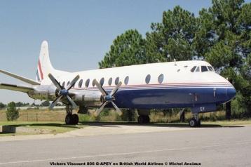 1020 Vickers Viscount 806 G-APEY ex British World Airlines © Michel Anciaux