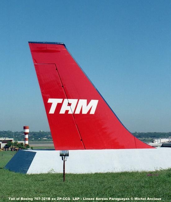 14 Tail of Boeing 707-321B ex ZP-CCG LAP - Lineas Aereas Paraguayas © Michel Anciaux