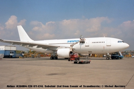 1135 Airbus A300B4-120 OY-CNL Sobelair (lsd from Conair of Scandinavia) © Michel Anciaux